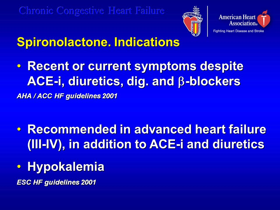 Spironolactone. Indications Recent or current symptoms despite ACE-i, diuretics, dig. and  -blockersRecent or current symptoms despite ACE-i, diureti