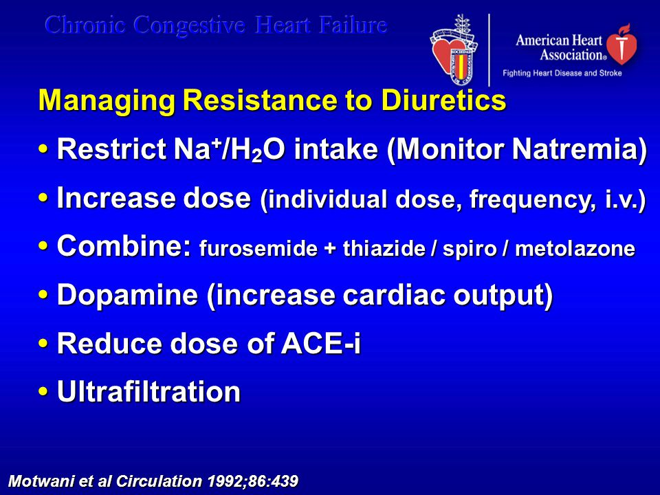 Managing Resistance to Diuretics Restrict Na + /H 2 O intake (Monitor Natremia) Restrict Na + /H 2 O intake (Monitor Natremia) Increase dose (individu