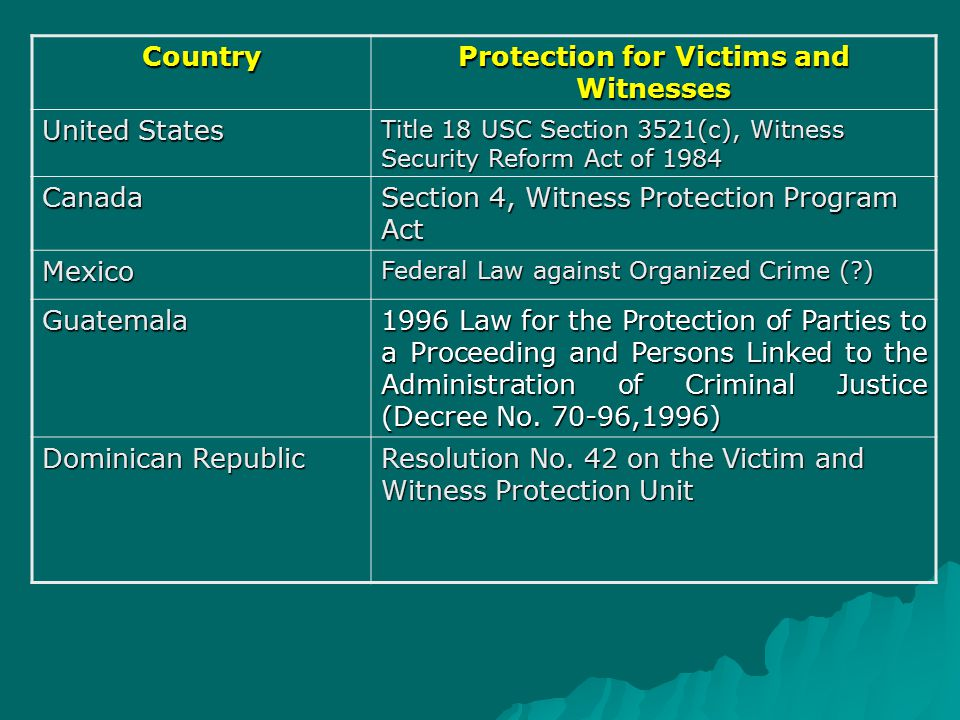 Country Protection for Victims and Witnesses United States Title 18 USC Section 3521(c), Witness Security Reform Act of 1984 Canada Section 4, Witness