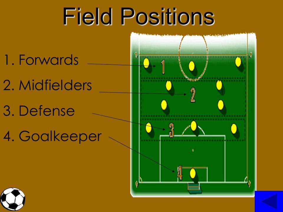 1. Forwards 2. Midfielders 3. Defense 4. Goalkeeper Field Positions