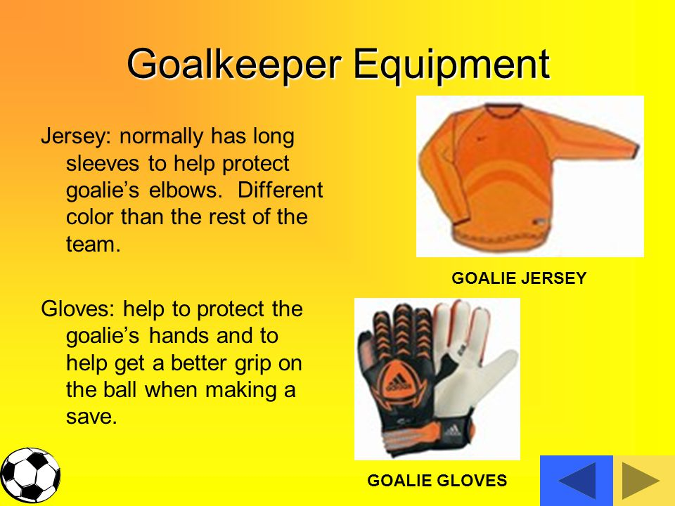 Goalkeeper Equipment Jersey: normally has long sleeves to help protect goalie's elbows.