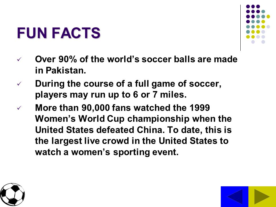 FUN FACTS Over 90% of the world's soccer balls are made in Pakistan.