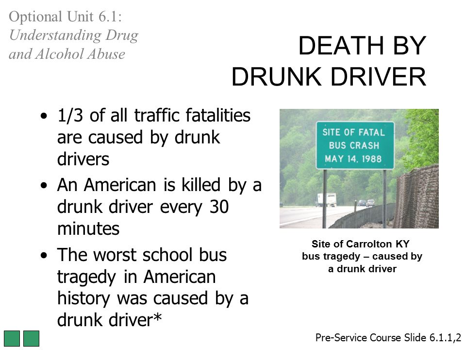 DEATH BY DRUNK DRIVER 1/3 of all traffic fatalities are caused by drunk drivers An American is killed by a drunk driver every 30 minutes The worst sch