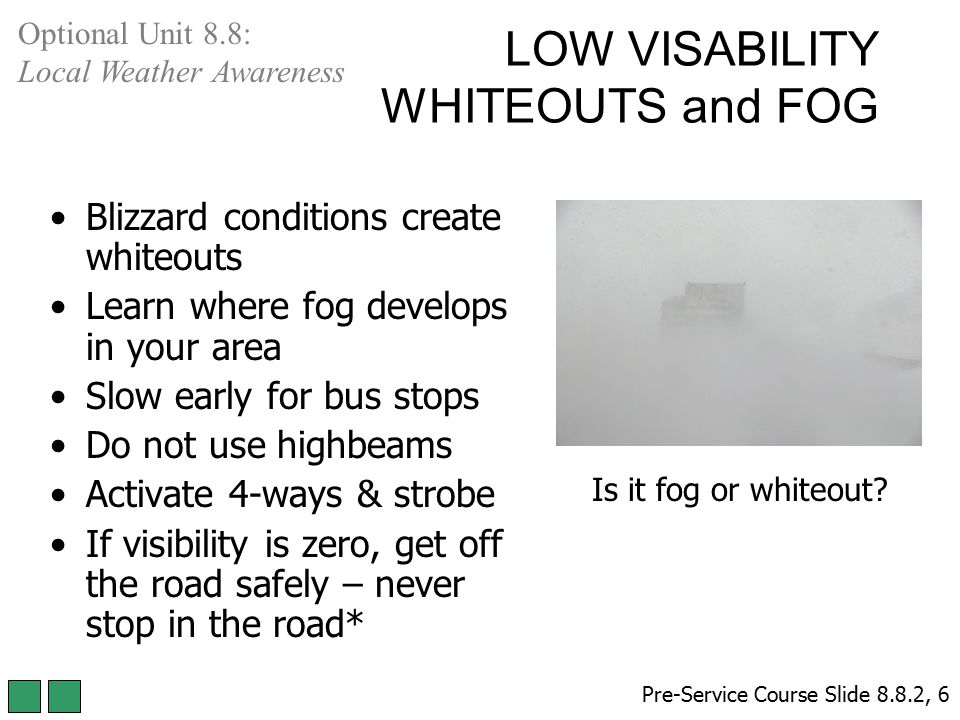 LOW VISABILITY WHITEOUTS and FOG Blizzard conditions create whiteouts Learn where fog develops in your area Slow early for bus stops Do not use highbe