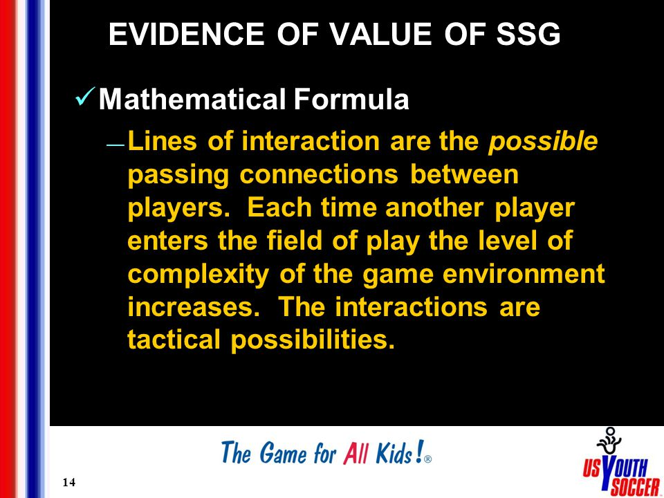 14 EVIDENCE OF VALUE OF SSG Mathematical Formula — Lines of interaction are the possible passing connections between players.
