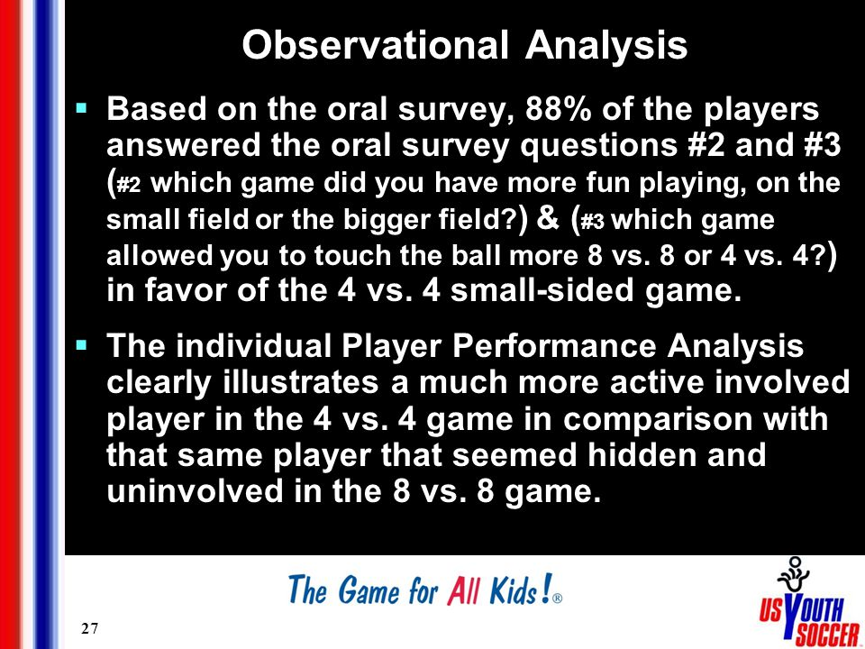 27 Observational Analysis  Based on the oral survey, 88% of the players answered the oral survey questions #2 and #3 ( #2 which game did you have more fun playing, on the small field or the bigger field.
