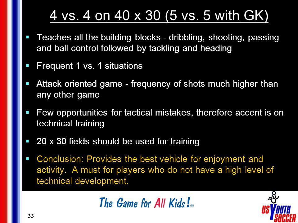 33 4 vs. 4 on 40 x 30 (5 vs. 5 with GK)  Teaches all the building blocks - dribbling, shooting, passing and ball control followed by tackling and hea