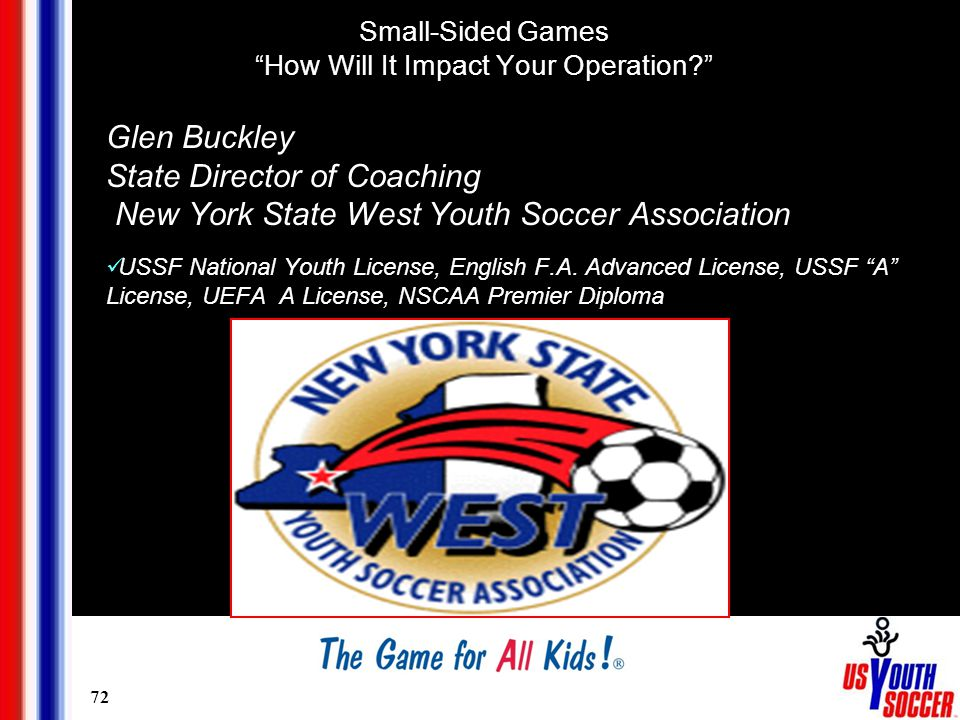 72 Glen Buckley State Director of Coaching New York State West Youth Soccer Association USSF National Youth License, English F.A.
