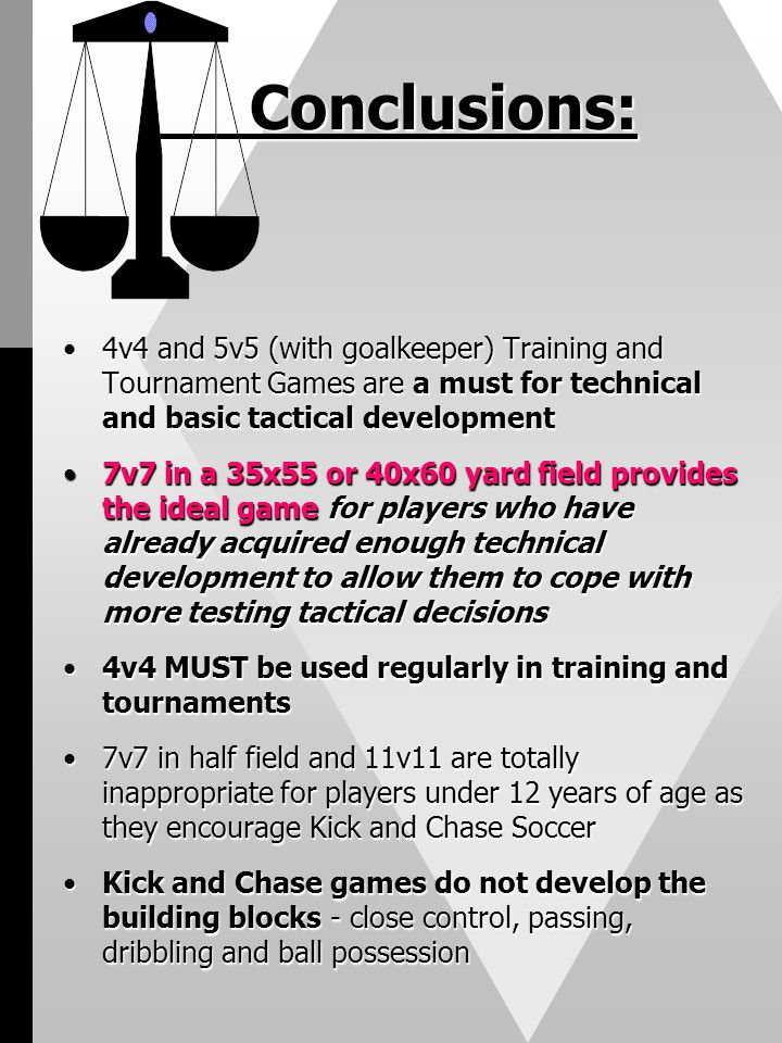 Conclusions: 4v4 and 5v5 (with goalkeeper) Training and Tournament Games are a must for technical and basic tactical development4v4 and 5v5 (with goal