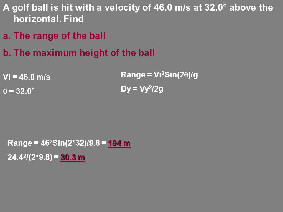 A golf ball is hit with a velocity of 46.0 m/s at 32.0° above the horizontal.