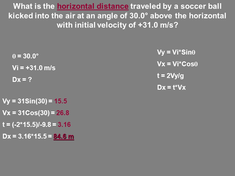 What is the horizontal distance traveled by a soccer ball kicked into the air at an angle of 30.0° above the horizontal with initial velocity of +31.0 m/s.