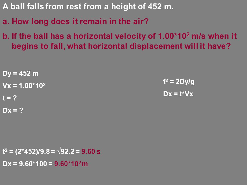 A ball falls from rest from a height of 452 m. a.How long does it remain in the air.