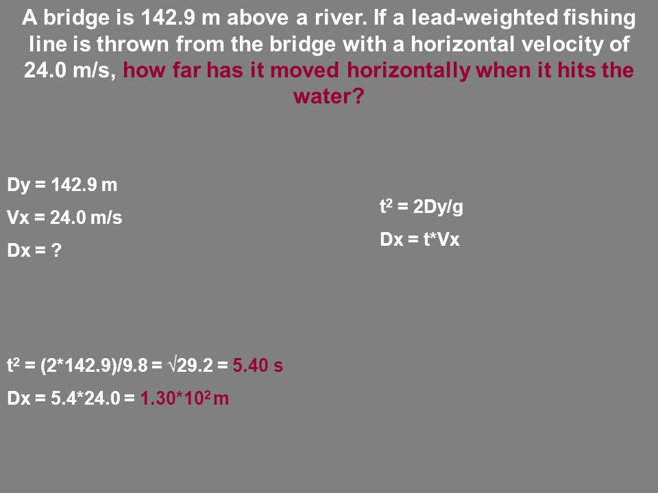 A bridge is 142.9 m above a river.