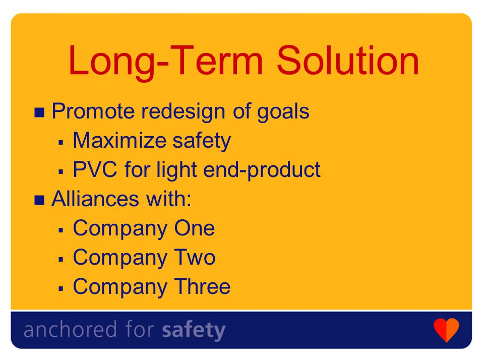 Long-Term Solution Promote redesign of goals  Maximize safety  PVC for light end-product Alliances with:  Company One  Company Two  Company Three