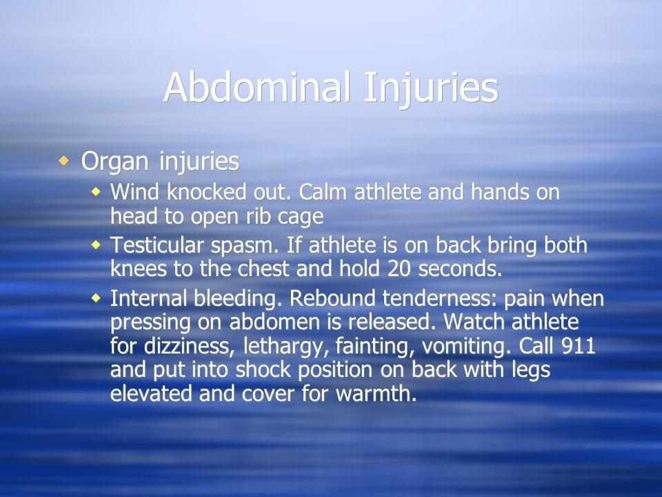 Abdominal Injuries  Organ injuries  Wind knocked out.