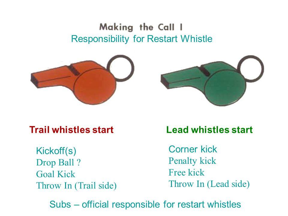 Trail whistles start Kickoff(s) Drop Ball .