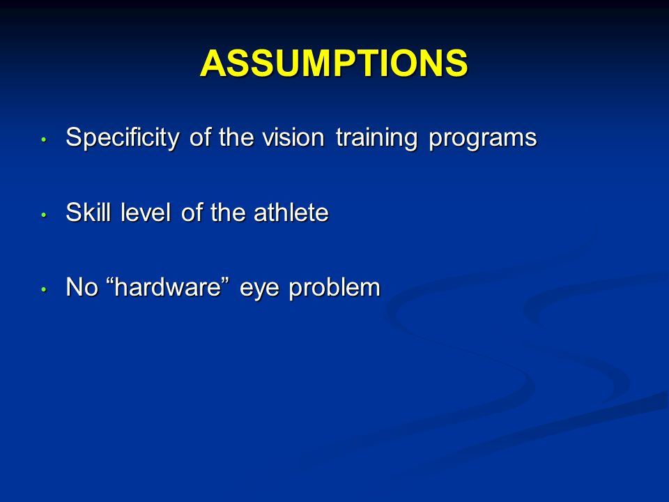 Visualization Mental training Your performance on the field is determined by the quality of the thoughts which are programmed into your mind Craig Townsend Its mind over matter Shot execution (Liverpool John Moores University, UK 2006) Showed highly skilled players are better able to visualize their shots than less skilled players.