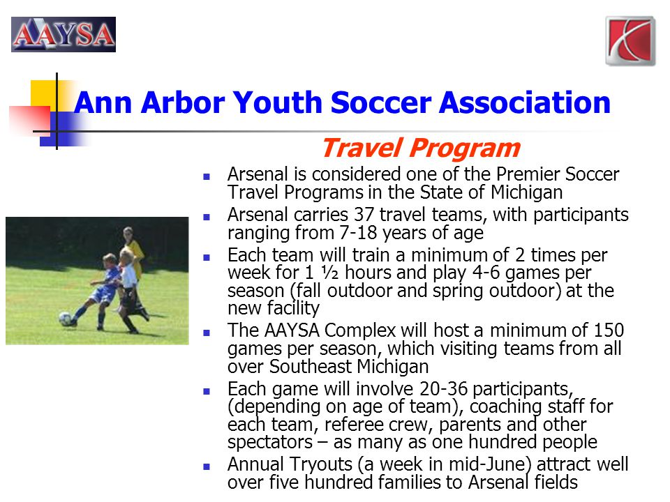 Ann Arbor Youth Soccer Association Travel Program Arsenal is considered one of the Premier Soccer Travel Programs in the State of Michigan Arsenal car