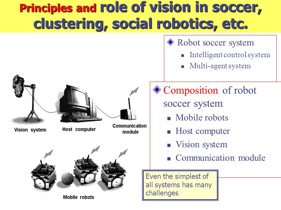 Principles and role of vision in soccer, clustering, social robotics, etc. Robot soccer system Intelligent control system Multi-agent system Compositi