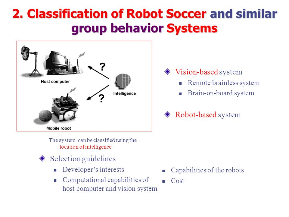 Vision-based system Remote brainless system Brain-on-board system Robot-based system Selection guidelines Developer's interests Computational capabilities of host computer and vision system Capabilities of the robots Cost The system can be classified using the location of intelligence 2.