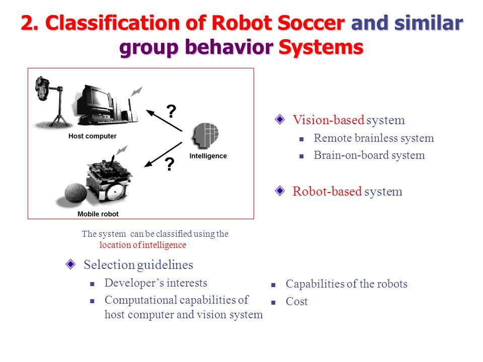 Vision-based system Remote brainless system Brain-on-board system Robot-based system Selection guidelines Developer's interests Computational capabili