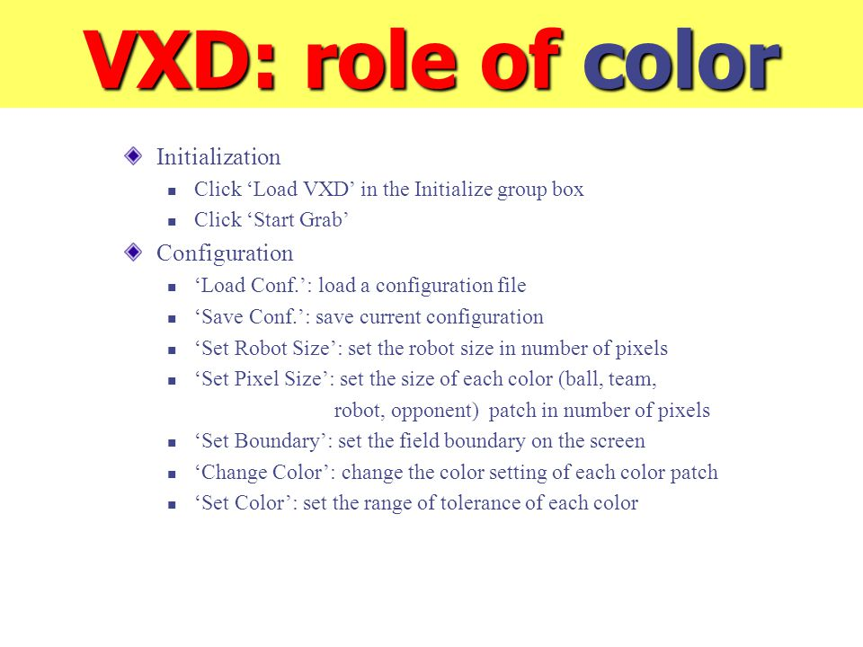 VXD: role of color Initialization Click 'Load VXD' in the Initialize group box Click 'Start Grab' Configuration 'Load Conf.': load a configuration fil