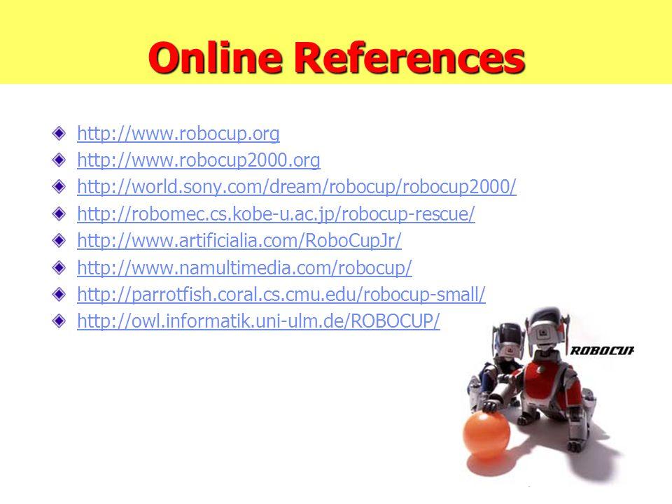 Online References http://www.robocup.org http://www.robocup2000.org http://world.sony.com/dream/robocup/robocup2000/ http://robomec.cs.kobe-u.ac.jp/ro