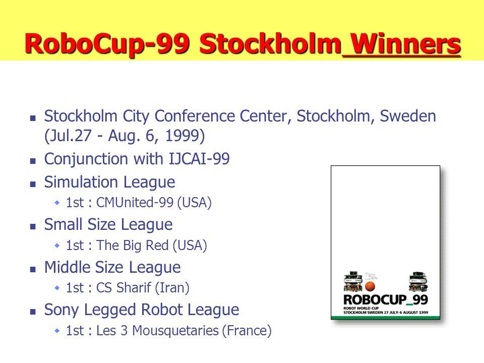 RoboCup-99 Stockholm Winners Stockholm City Conference Center, Stockholm, Sweden (Jul.27 - Aug. 6, 1999) Conjunction with IJCAI-99 Simulation League 