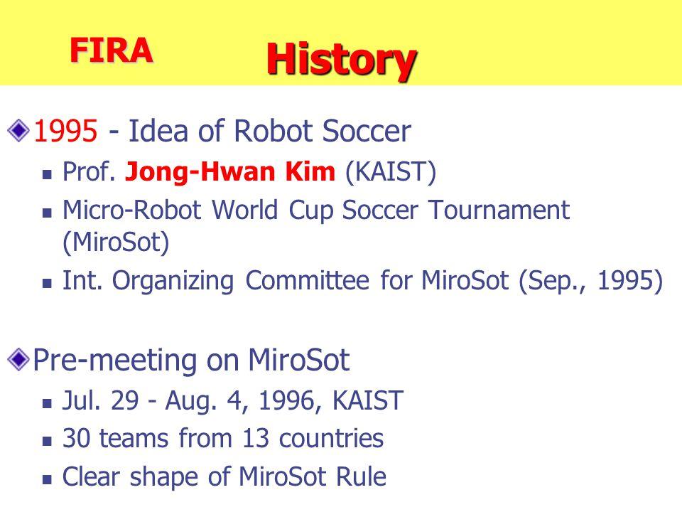 History 1995 - Idea of Robot Soccer Prof. Jong-Hwan Kim (KAIST) Micro-Robot World Cup Soccer Tournament (MiroSot) Int. Organizing Committee for MiroSo