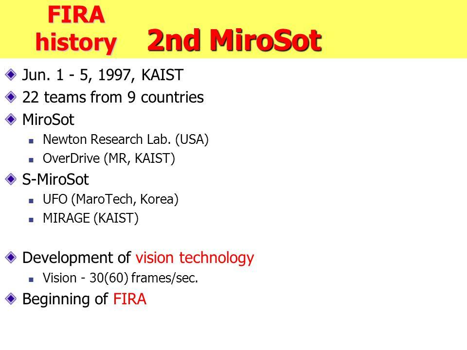 2nd MiroSot Jun. 1 - 5, 1997, KAIST 22 teams from 9 countries MiroSot Newton Research Lab. (USA) OverDrive (MR, KAIST) S-MiroSot UFO (MaroTech, Korea)