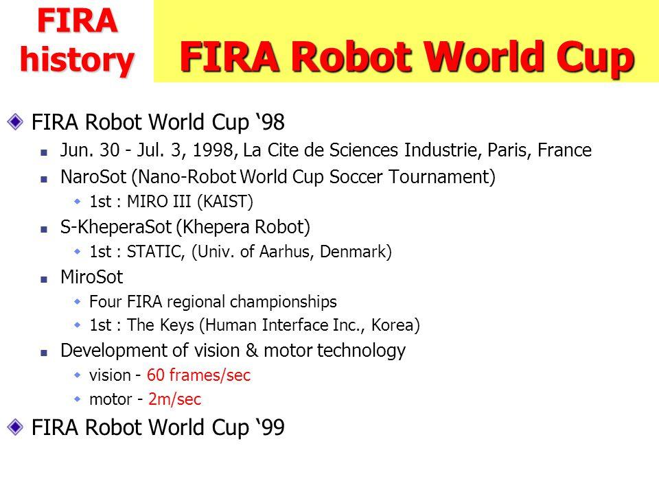 FIRA Robot World Cup FIRA Robot World Cup '98 Jun. 30 - Jul. 3, 1998, La Cite de Sciences Industrie, Paris, France NaroSot (Nano-Robot World Cup Socce