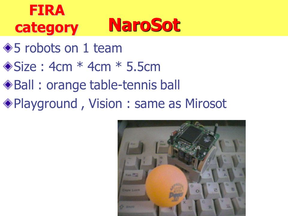 NaroSot 5 robots on 1 team Size : 4cm * 4cm * 5.5cm Ball : orange table-tennis ball Playground, Vision : same as Mirosot FIRA category