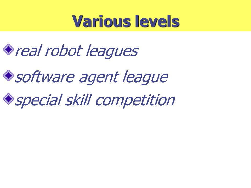 Various levels real robot leagues software agent league special skill competition