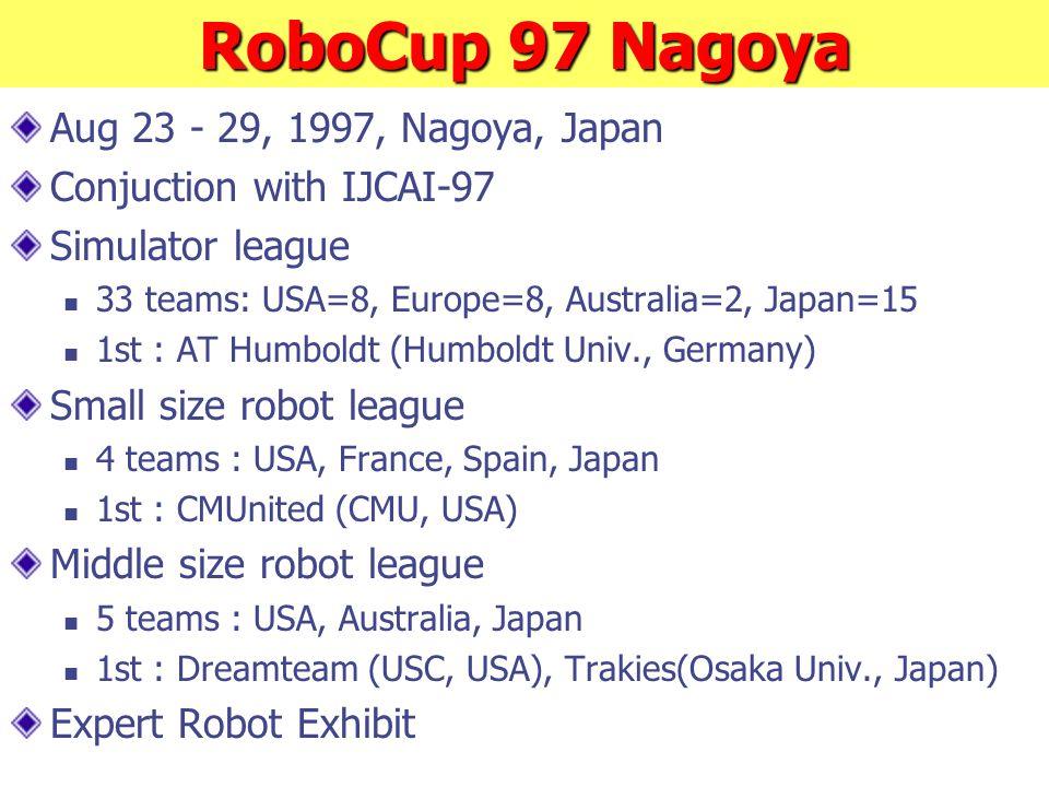 RoboCup 97 Nagoya Aug 23 - 29, 1997, Nagoya, Japan Conjuction with IJCAI-97 Simulator league 33 teams: USA=8, Europe=8, Australia=2, Japan=15 1st : AT Humboldt (Humboldt Univ., Germany) Small size robot league 4 teams : USA, France, Spain, Japan 1st : CMUnited (CMU, USA) Middle size robot league 5 teams : USA, Australia, Japan 1st : Dreamteam (USC, USA), Trakies(Osaka Univ., Japan) Expert Robot Exhibit