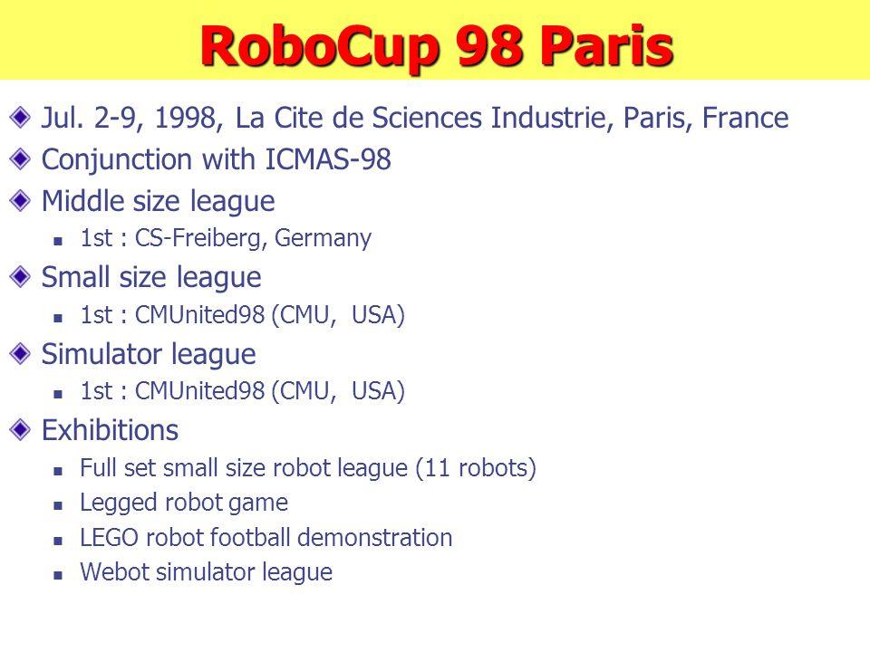 RoboCup 98 Paris Jul. 2-9, 1998, La Cite de Sciences Industrie, Paris, France Conjunction with ICMAS-98 Middle size league 1st : CS-Freiberg, Germany