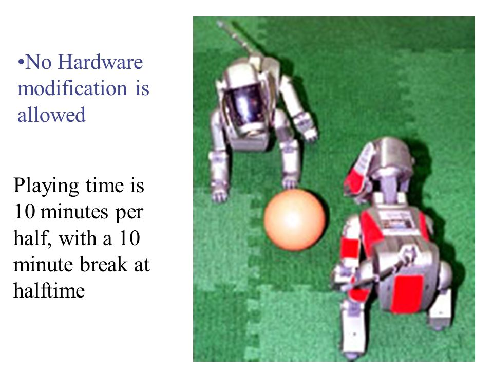 No Hardware modification is allowed Playing time is 10 minutes per half, with a 10 minute break at halftime