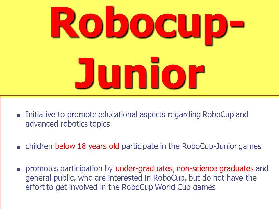 Robocup- Junior Robocup- Junior Initiative to promote educational aspects regarding RoboCup and advanced robotics topics children below 18 years old p