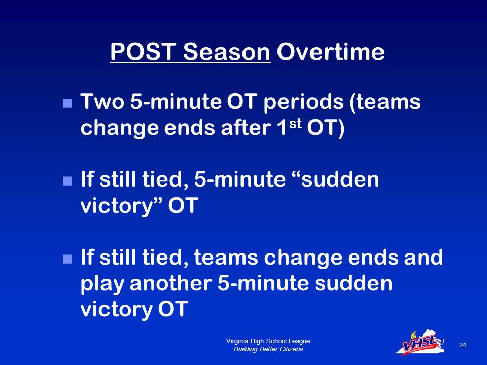 Virginia High School League Building Better Citizens 23 REGULAR SEASON Overtime Two 5-minute OT periods  Teams change ends between first and second OT period If still tied after 2 nd OT period, game is recorded as a tie.