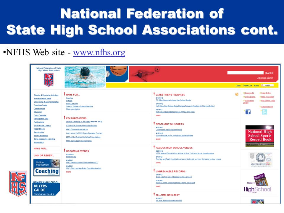 National Federation of State High School Associations cont. NFHS Web site - www.nfhs.orgwww.nfhs.org