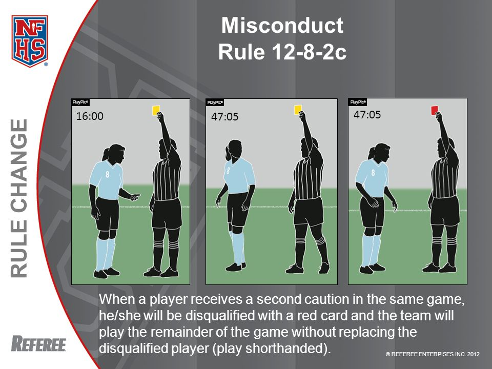 © REFEREE ENTERPISES INC. 2012 RULE CHANGE Misconduct Rule 12-8-2c When a player receives a second caution in the same game, he/she will be disqualifi