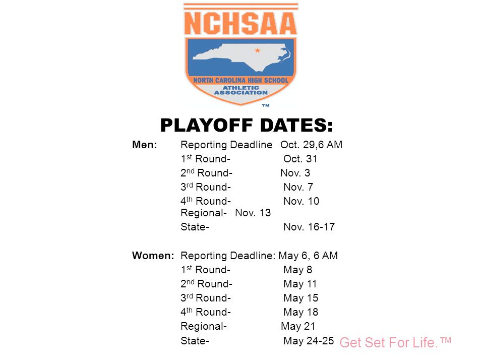 Take Part. Get Set For Life.™ National Federation of State High School Associations PLAYOFF DATES: Men:Reporting Deadline Oct. 29,6 AM 1 st Round- Oct