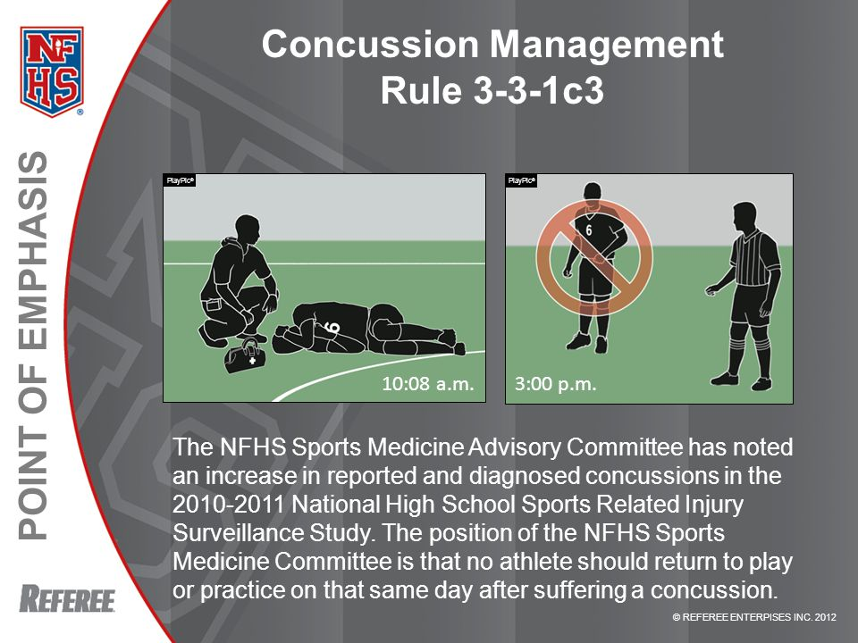 © REFEREE ENTERPISES INC. 2012 POINT OF EMPHASIS Concussion Management Rule 3-3-1c3 The NFHS Sports Medicine Advisory Committee has noted an increase