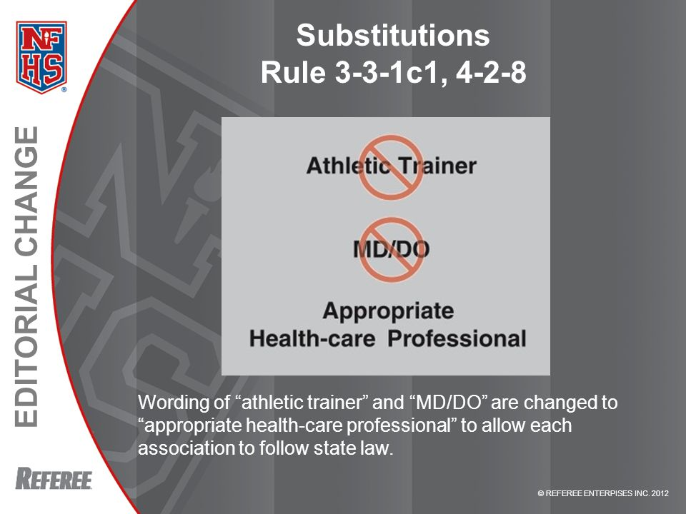 """© REFEREE ENTERPISES INC. 2012 EDITORIAL CHANGE Substitutions Rule 3-3-1c1, 4-2-8 Wording of """"athletic trainer"""" and """"MD/DO"""" are changed to """"appropriat"""
