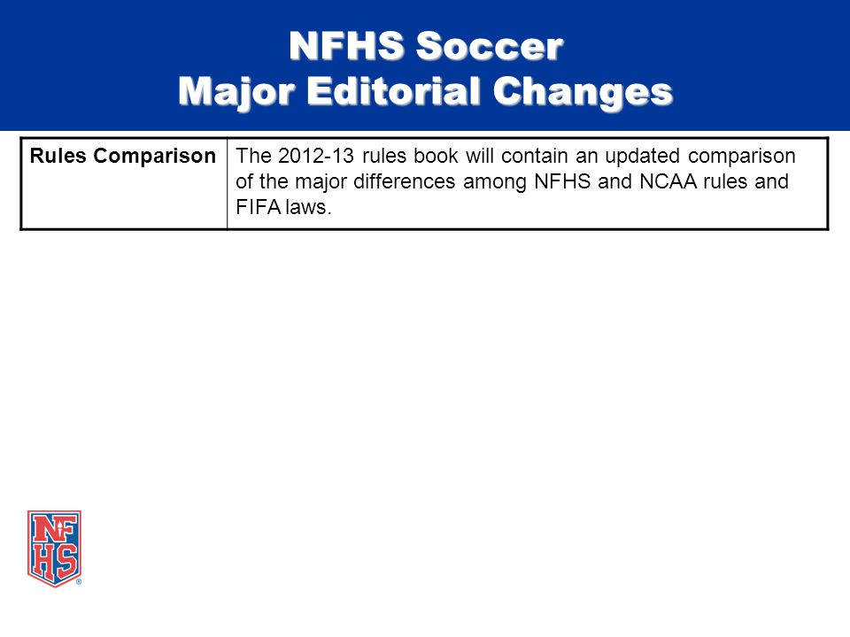 NFHS Soccer Major Editorial Changes Rules ComparisonThe 2012-13 rules book will contain an updated comparison of the major differences among NFHS and NCAA rules and FIFA laws.