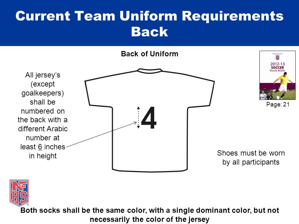 Shoes must be worn by all participants Back of Uniform Current Team Uniform Requirements Back All jersey's (except goalkeepers) shall be numbered on the back with a different Arabic number at least 6 inches in height Both socks shall be the same color, with a single dominant color, but not necessarily the color of the jersey Page: 21