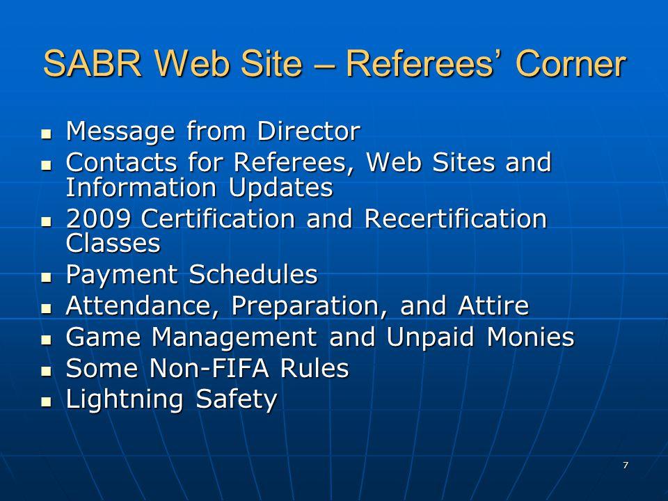 8 SABR Web Site – Referees' Corner