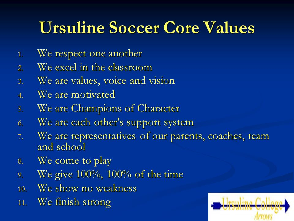 Ursuline Soccer Core Values 1. We respect one another 2. We excel in the classroom 3. We are values, voice and vision 4. We are motivated 5. We are Ch