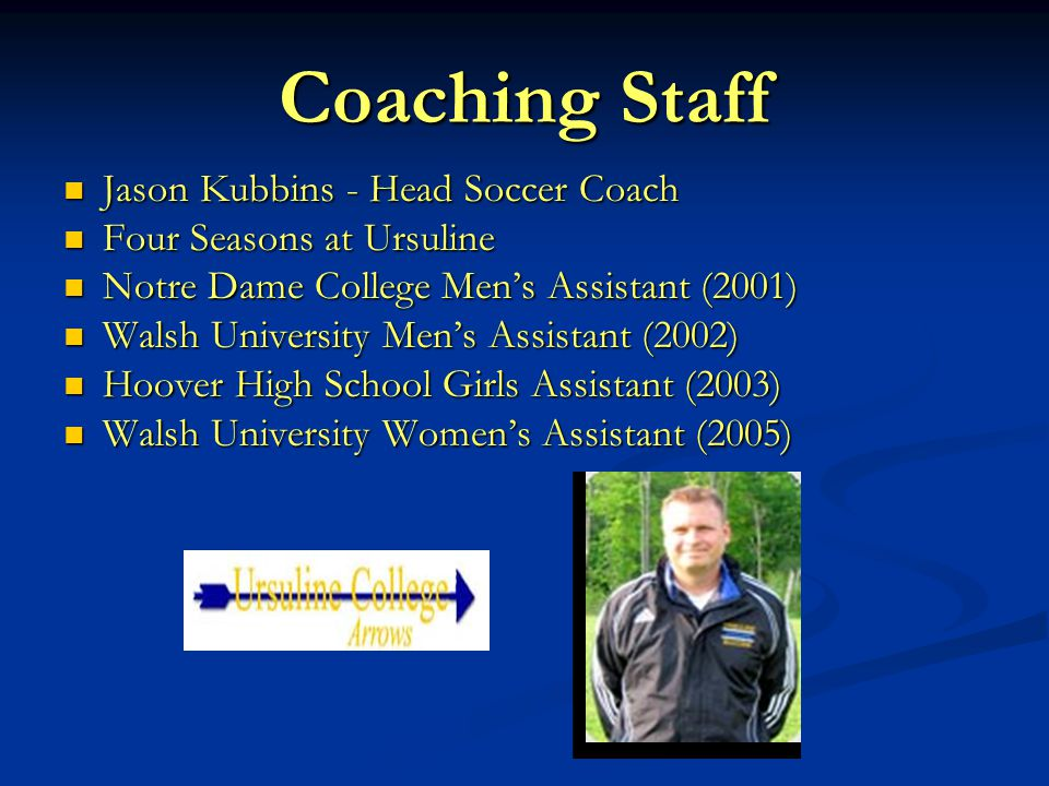 Coach Kubbins Canton International Staff Coach and Director of Goalkeeping (1996-2000) Canton International Staff Coach and Director of Goalkeeping (1996-2000) Green Soccer Association Staff Coach (2004-2006) Green Soccer Association Staff Coach (2004-2006) Greater Akron Premier/Akron Metro Futbol Club Staff Coach and Goalkeeping Director (2005-Present) Greater Akron Premier/Akron Metro Futbol Club Staff Coach and Goalkeeping Director (2005-Present) North East Ohio Futbol Club Goalkeeping Instructor (2006) North East Ohio Futbol Club Goalkeeping Instructor (2006) Ohio North Goalkeeping Instructor (2006-Present) Ohio North Goalkeeping Instructor (2006-Present) Cleveland Internationals Goalkeeping Instructor (2006- Present) Cleveland Internationals Goalkeeping Instructor (2006- Present)