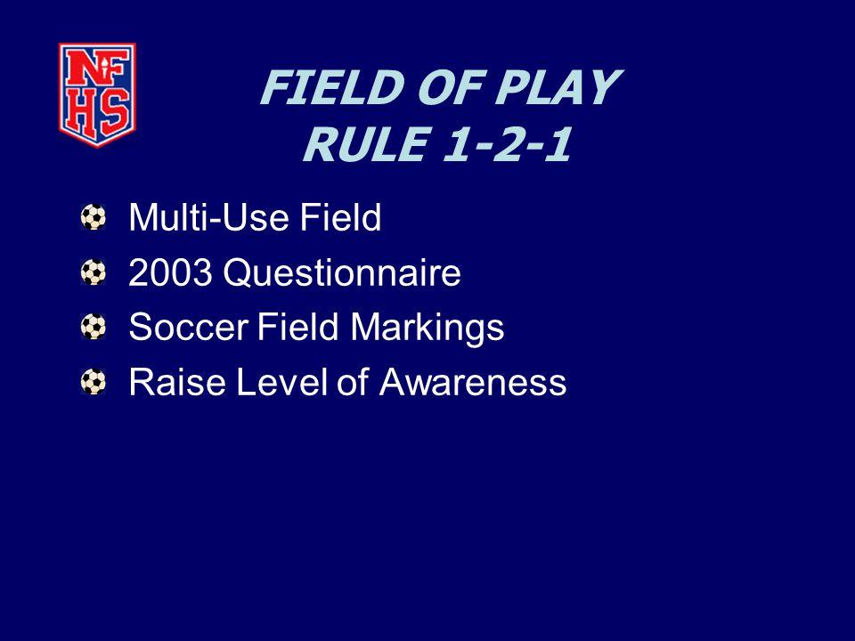 FIELD OF PLAY RULE 1-2-1 Multi-Use Field 2003 Questionnaire Soccer Field Markings Raise Level of Awareness