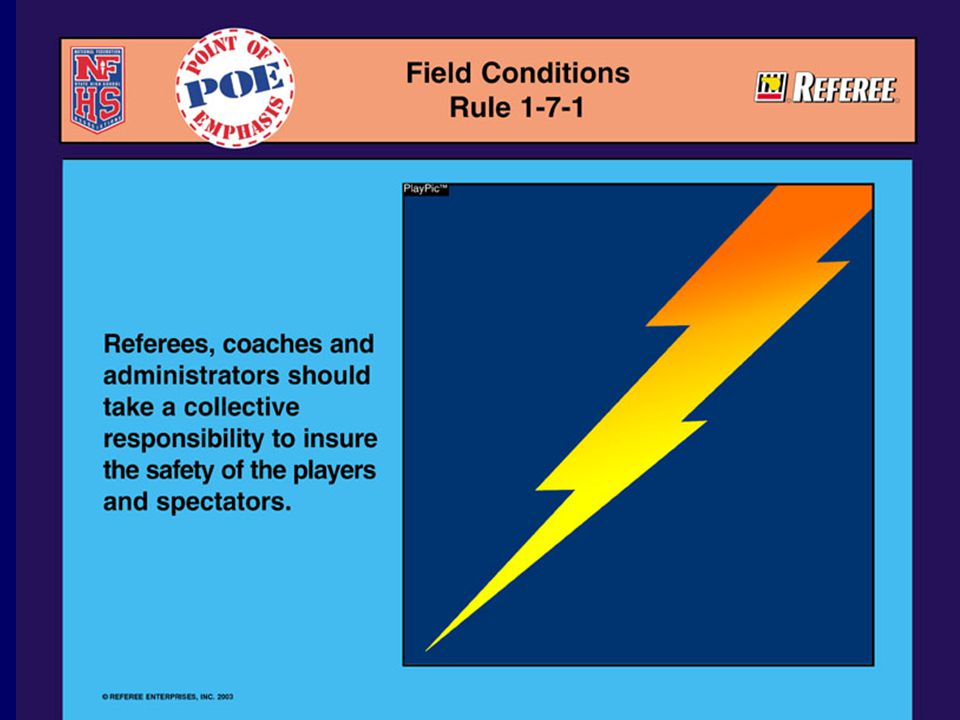 FIELD CONDITIONS RULE 1-7-1 POE #3 Responsibility/Decision to Play Referee's Responsibilities Weather Conditions Severe Weather Lightning Guidelines Additional State Association Guidelines